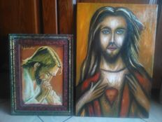 Two wonderful oil paintings on canvas, Heart of Jesus and Praying Jesus, by the artist Antonio Cariola