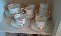 Royal Tara Ireland Bone China Shamrock Tea Cups & Saucers Milk and sugar and tea plates.(17 pieces)