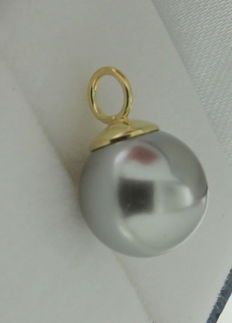 14 kt yellow gold pendant with a cultured pearl – Measurements: