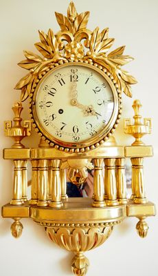 Swedish hand carved gilt-wood Rococo style Cartel clock Approx 1930