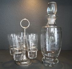 Silver plated condiment - holder with five engraved glasses and an engraved decanter