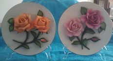 Two roses of capodimonte plate's, porcelain