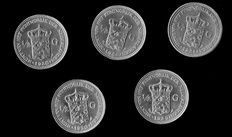 The Netherlands - 10 cent and ½ Guilder 1849/1930 (12 different coins) William II up to Wilhelmina - Silver