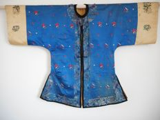 Antique embroided robe mantle coat or surcoat - China - 1890-1910