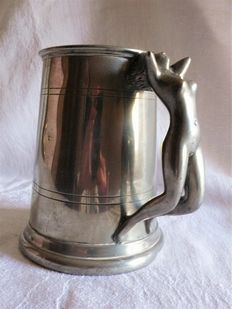 Tankard with magnificent handle sculpture of naked woman
