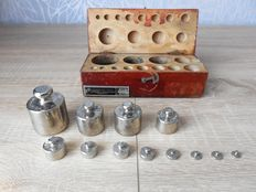 Wooden box with nickel plated weights