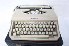 'Mercedes' Plastic Portable typewriter, made under license by Antares (Italy) of Germany with case., 1966