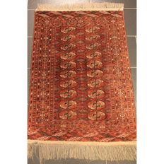 Beautiful Art Deco Yomut Bukhara, USSR, oriental carpet, wool on wool, circa 1930, made in USSR, 120 x 80 cm