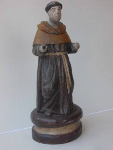 Ancient oak wood sculpture of St Anthony, late 18th / early 19th century