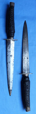 Pair of 19th Century English or German Antique Hunting Daggers