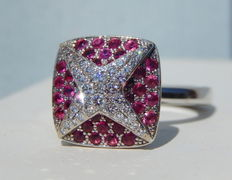 Star ring in diamonds and pink sapphires, 11.70 g, size 51
