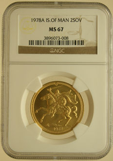 "Isle of Man – 2 Sovereigns 1978A ""Elizabeth II"" NGC MS 67 – gold"