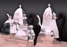 Tea set (4 pieces)-Silver 800/1000 - hand-wrought - late 1950s