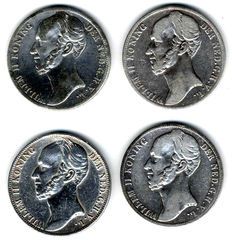 The Netherlands - 1 guilder 1845, 1846 (lily), 1847 and 1848 Willem II - silver