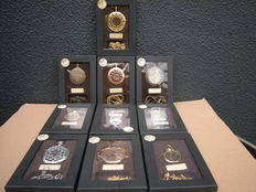 Collection of 10 mechanical pocket watches all with chain