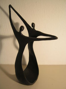 Corry Ammerlaan van Niekerk - signed sculpture of dancers - height 24 cm and weight 1.1 kg.