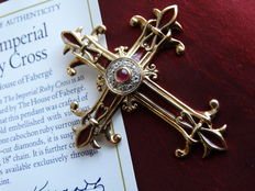 Fabergé Gold Cross+ 1 cabochon ruby , 8  diamonds with vitreous enamel +  COA