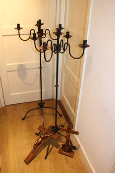2 large cast iron candlesticks, large crucifix hanging model and a standing crucifix - the Netherlands - Mid 20th century