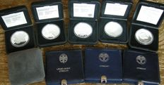 The Netherlands – 50 guilder 1982/1998 (9 pieces), complete in cases – Silver