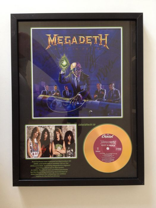 "Metal Megadeth Gold Plated CD  Display "" Rust In Peace "" Including 3 Signatures"