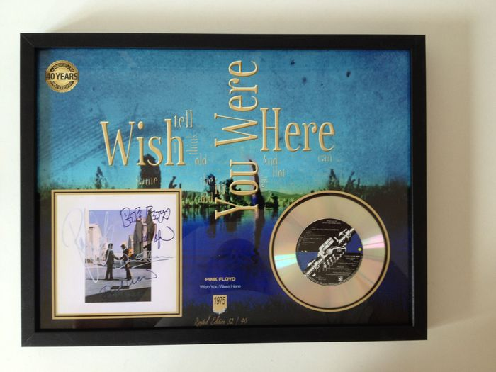 "Pink Floyd Platinum Plated CD  Display "" Wish You Were Here "" Including 4 Signatures"