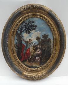 Large (40 cm) hand-coloured oval etching with biblical representation - 19th century