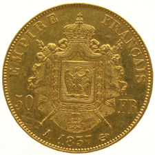 "France – 50 Francs ""Napoleon III"" 1857-A – gold"