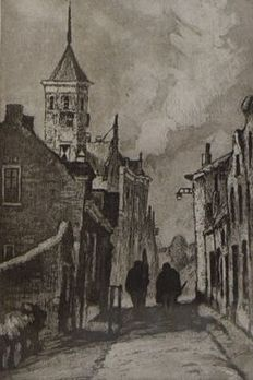 Nine etchings by Cornelis de Kort (1910-1996) - cityscapes and landscapes