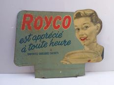 Old tin advertising sign royco - Belgium - 1952.