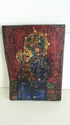 Large, old, late 19th century icon on wood