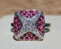 "Mauboussin – ""String star"" Sublime  diamond and pink sapphire ring in white gold - size 51 / no. 11 / US 5.75 - 11.70 g"