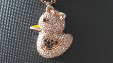 Rose gold pendant with 1.10 ct diamonds and enamel – NO MINIMUM PRICE
