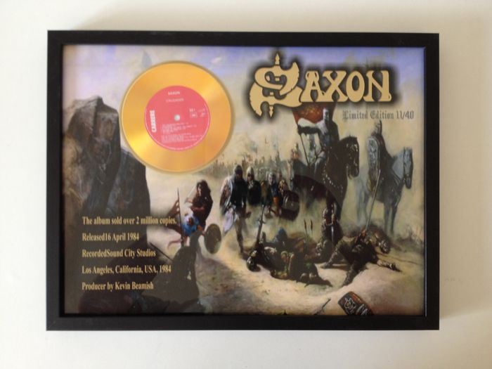 "Saxon Gold Plated CD  Display "" Crusader ""  -  New Wave Of British Heavy Metal Heroes !!"