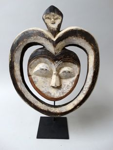 African wooden heart mask Kwele tribe Gabon.