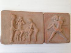 Pair of erotic tiles in earthenware
