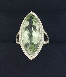 White gold ring centered by praziolite with 88 diamonds - Size: 18.0 mm ( 8 USA)