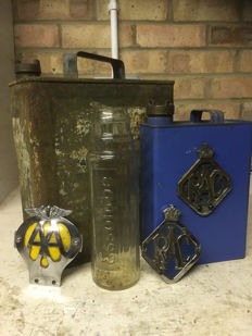 two petrol cans two car badges & esso lube bottle