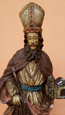 Large-sized sculpture in polychrome very hard  wood - depicting Saint Wolfgang Bishop of Regensburg - Germany - 19th century