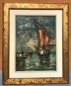 Italiam Maritime View , signed A.Giordano