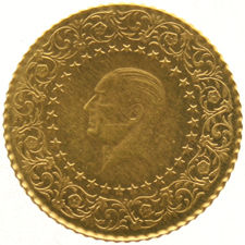 Turkey – 25 Kurush 1963 'Ataturk' – gold