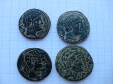 Ancient Hispania, lot of 4 Iberian asses from the mints of Bolscan, Iltirta, Celsa and Secobirices