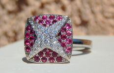 "Mauboussin - ""String star"" ring with pavé diamonds and pink sapphires in white gold - Size 11.70"