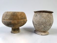 2 very old earthenware beakers from West Africa