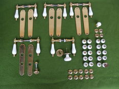 5 Brass, porcelain handle sets and 21 cabinet, drawer knobs