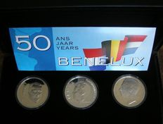 "Benelux - coin set ""50 Years Benelux, 1944-1994, (3 coins) in coffer - silver."