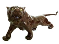 Large impressive Japanese Meiji bronze sculpture of a roaring tiger with inset glass eyes - Japan - ca. 1910