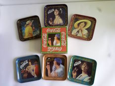 complete set of 6 coca cola coasters in liberty style - 1970s