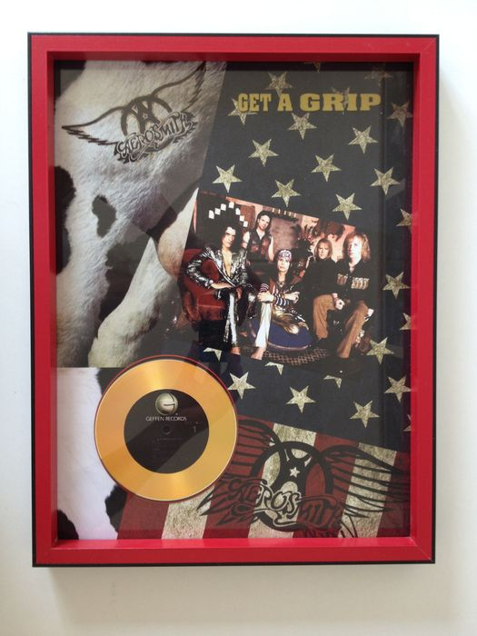 "Aerosmith Gold Plated CD Display  "" Get A Grip """
