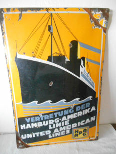 Large enamel boat trip sign - 1920
