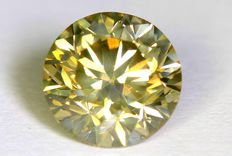 Diamant - 1.03 ct - Fancy Greenish Yellow - VS2 - Zonder reserve prijs
